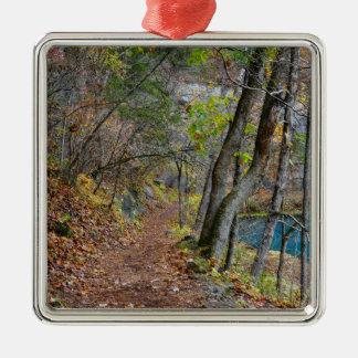 Alley Mill Autumn Walk Silver-Colored Square Decoration