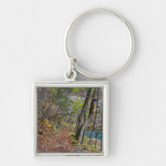 Alley Mill Autumn Walk Silver-Colored Square Key Ring