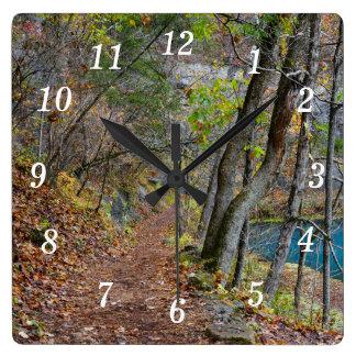 Alley Mill Autumn Walk Square Wall Clock