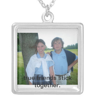 allie&ryon, true friends stick together. square pendant necklace