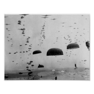 Allied Airborne Troops Parachuting - WWII Poster