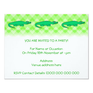 Alligator. 11 Cm X 14 Cm Invitation Card