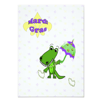 Alligator Beads Fleur de Lis Mardi Gras Party 5x7 Paper Invitation Card