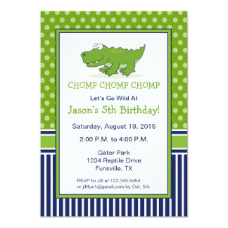 Alligator Birthday Party Invitation Blue and Green
