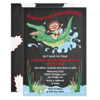 Alligator Birthday swimming Party Invitations
