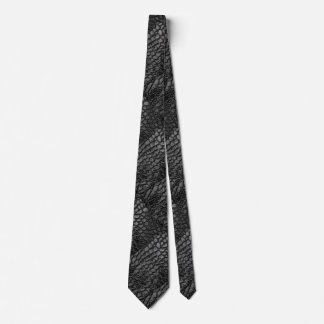 Alligator Black Faux Leather•Double Sided Tie