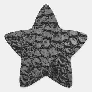 Alligator Black Faux Leather Star Sticker