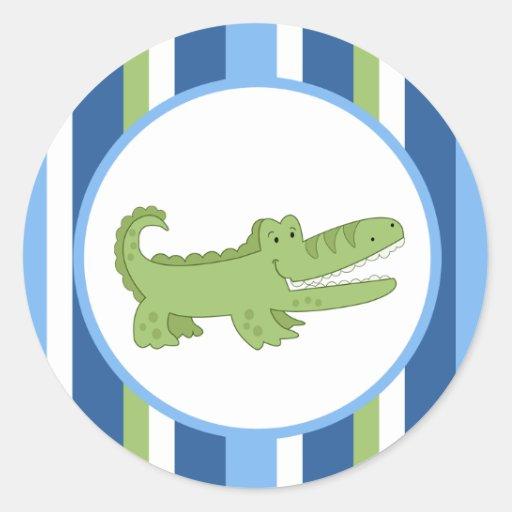 Alligator Blue/Green Envelope Seals / Toppers 20 Round Sticker