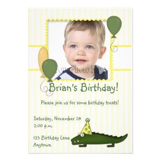 Alligator Child s Birthday Photo Invitation