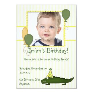 "Alligator Child's Birthday Photo Invitation 5"" X 7"" Invitation Card"