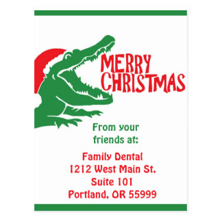 Alligator christmas postcard