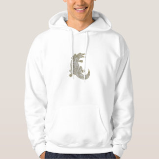 Alligator Climbing Up Mono Line Hoodie