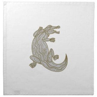 Alligator Climbing Up Mono Line Napkin