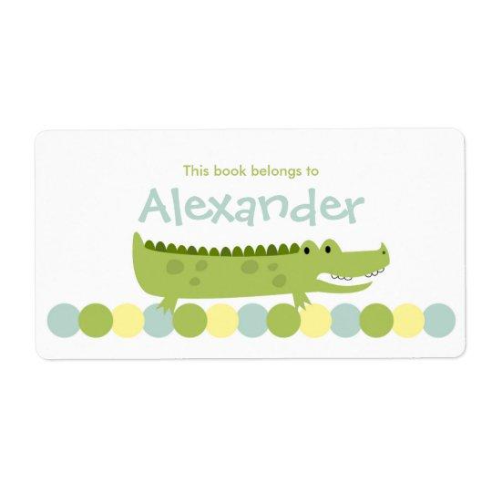 Alligator Crocodile Bookplate Label - Book Plate