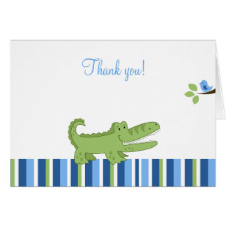 Alligator Folded Thank you notes - Blue/Green Note Card