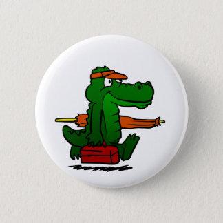 Alligator going to the beach 6 cm round badge