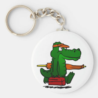 Alligator going to the beach key ring