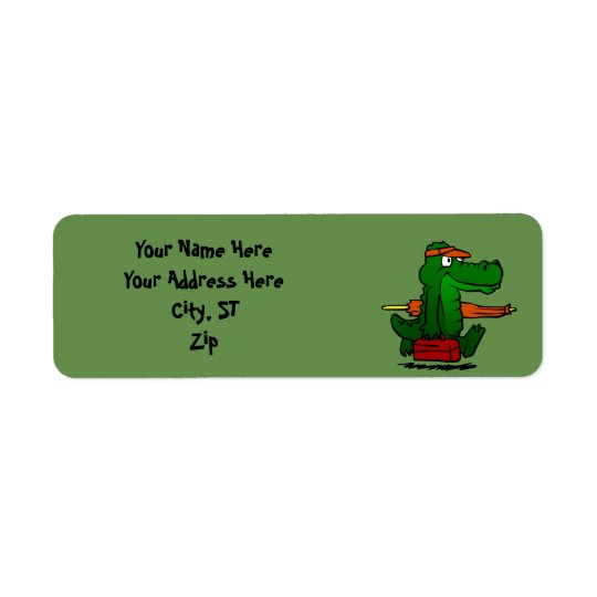 Alligator going to the beach return address label