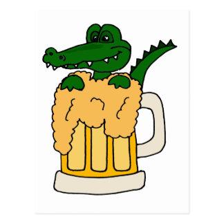 Alligator in Beer Mug Post Cards