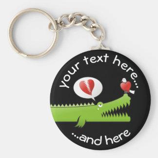 Alligator in Love Key Ring