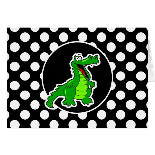 Alligator on Black and White Polka Dots Greeting Cards