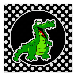Alligator on Black and White Polka Dots Poster