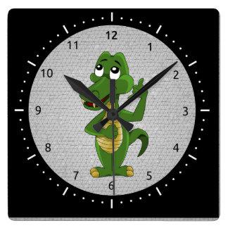 Alligator or crocodile cartoon clock