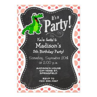 Alligator Pink Coral Polka Dots Custom Invite