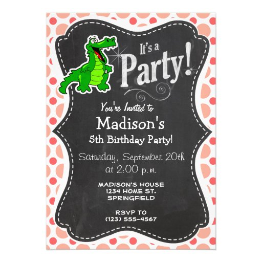 Alligator; Pink & Coral Polka Dots Custom Invite