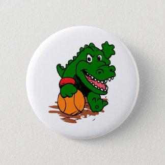 Alligator playing basketball 6 cm round badge