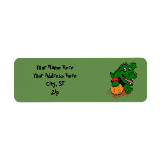 Alligator playing basketball return address label