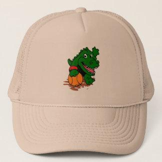 Alligator playing basketball trucker hat