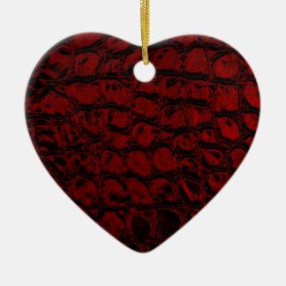 Alligator Red Faux Leather Ceramic Ornament