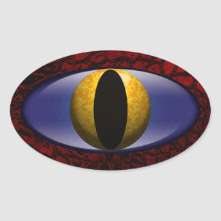 Alligator Red Yellow Faux Leather Eye Oval Sticker