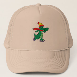 Alligator skating with hat and scarf