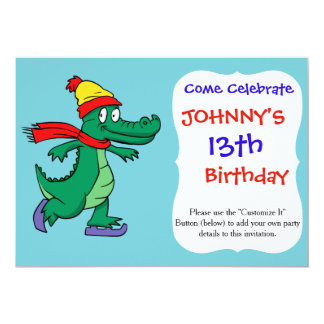 Alligator skating with hat and scarf card