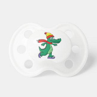 Alligator skating with hat and scarf dummy