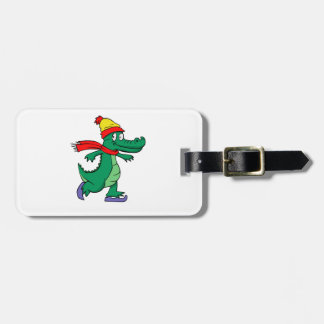 Alligator skating with hat and scarf luggage tag