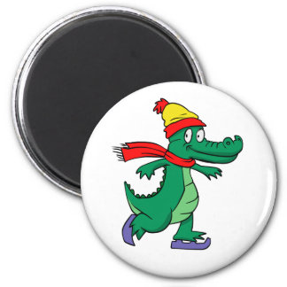 Alligator skating with hat and scarf magnet