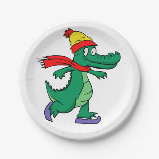 Alligator skating with hat and scarf paper plate
