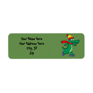 Alligator skating with hat and scarf return address label