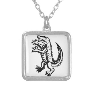 Alligator Standing Scraperboard Silver Plated Necklace