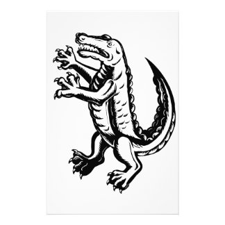 Alligator Standing Scraperboard Stationery