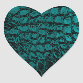 Alligator Teal Faux Leather Heart Sticker