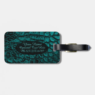 Alligator Teal Faux Leather Tags For Luggage