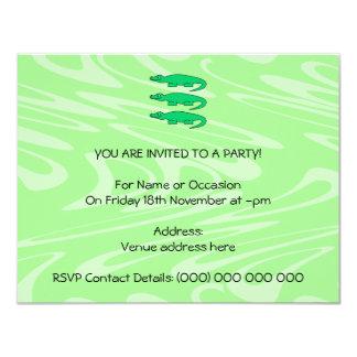 Alligators. 11 Cm X 14 Cm Invitation Card