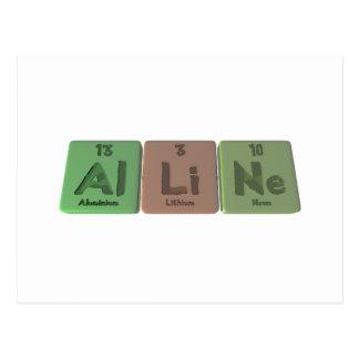 Alline as Aluminium Lithium Neon Postcard