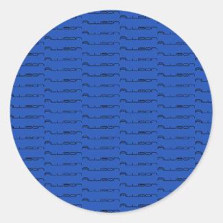 Allison repeat pattern geometric font classic round sticker