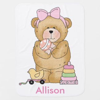 Allison's Teddy Bear Personalized Gifts Baby Blanket