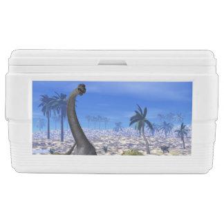 Allosaurus attacking brachiosaurus dinosaur - 3D r Chest Cooler